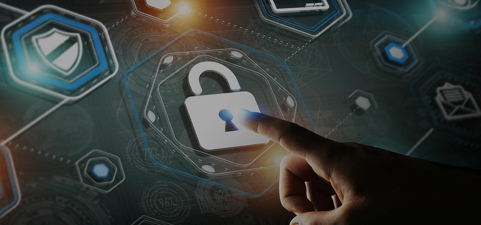 SecurityHero Digital lock security icons pointing