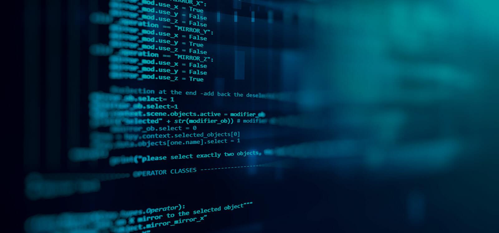 SoftwareAndApplicationDevelopmentHero blue screen computer code