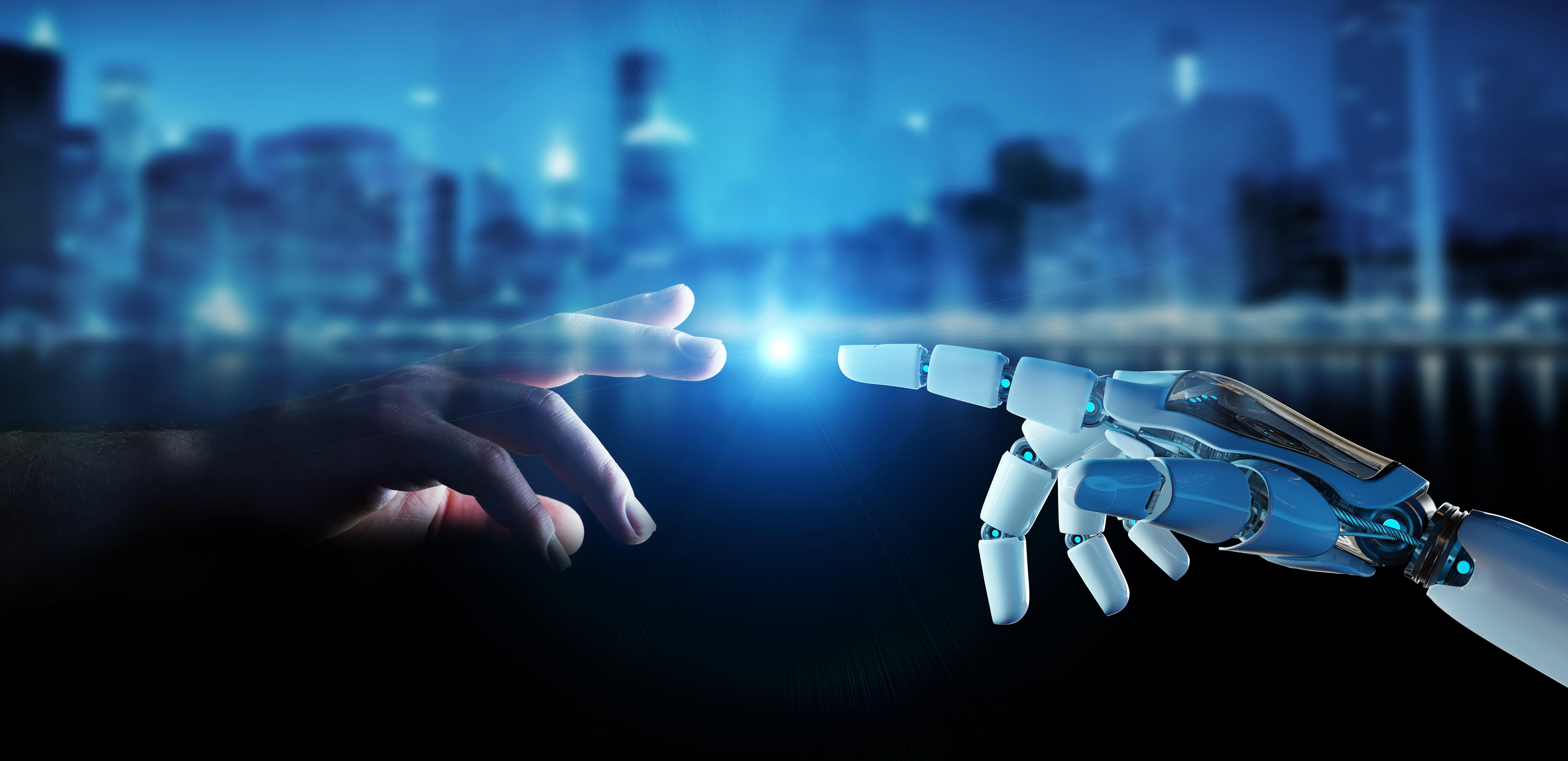 Robot touching human finger